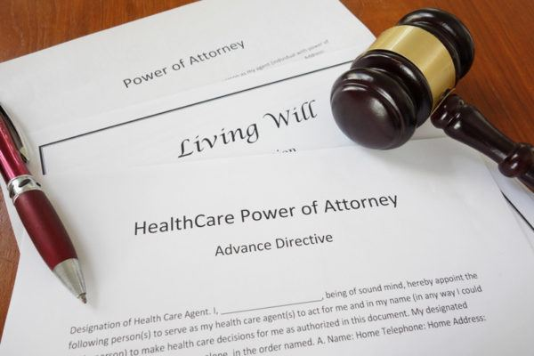 Estate planning documents: power of attorney, living will, and healthcare directives.
